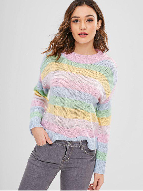 Maglione Sciolto A Righe Colorate Di ZAFUL - Multi Colori L