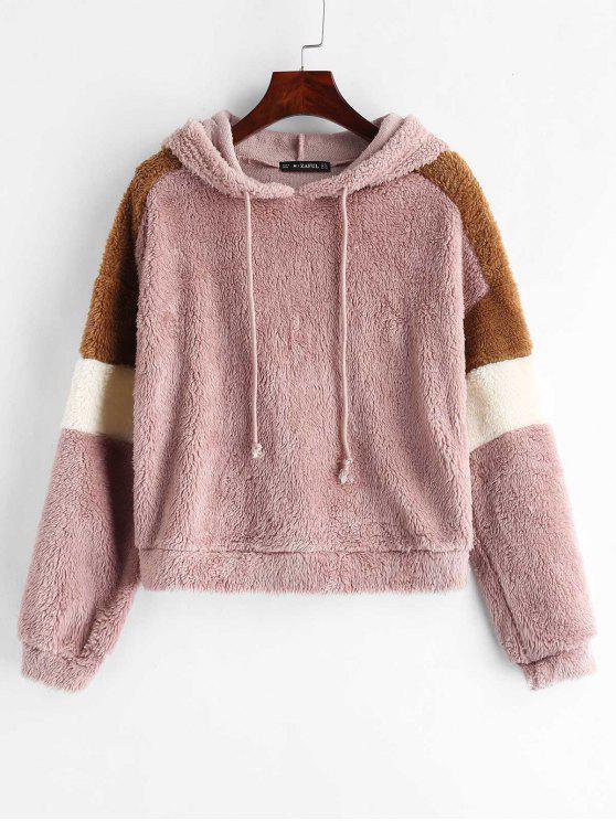 best ZAFUL Color Block Drawstring Fluffy Hoodie - LIPSTICK PINK S