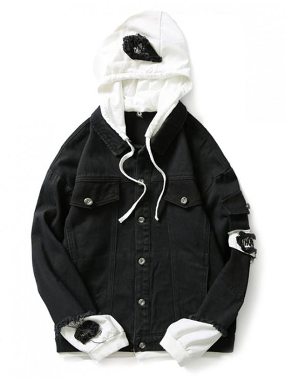 fashion Casual Faux Pocket Ripped Letter Number Applique Hooded Jacket - BLACK XL
