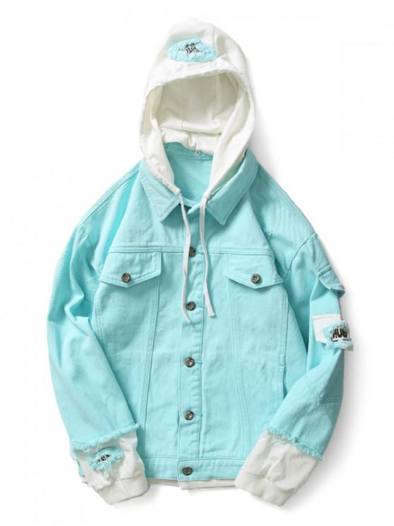 latest Casual Faux Pocket Ripped Letter Number Applique Hooded Jacket - TRON BLUE L