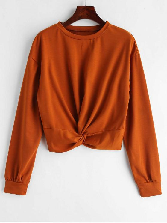 sale ZAFUL Twist Front Plain Sweatshirt - LIGHT BROWN S