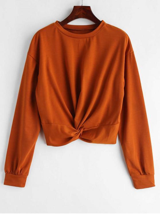 affordable ZAFUL Twist Front Plain Sweatshirt - LIGHT BROWN M