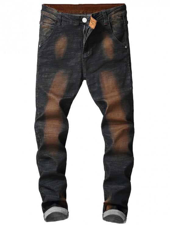 lady Vintage Paint Slim Fit Jeans - LIGHT BROWN 34