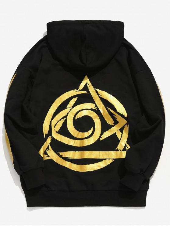 trendy Printed Front Pocket Hooded Sweatshirt - GOLD M