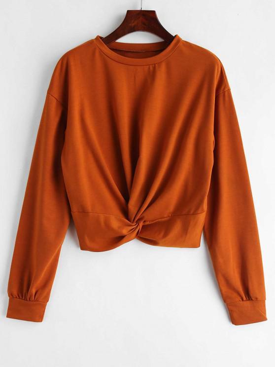 womens ZAFUL Twist Front Plain Sweatshirt - LIGHT BROWN XL