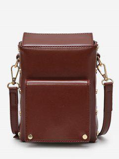 Rivet Solid Mini Crossbody Bag - Coffee