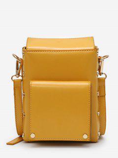Rivet Solid Mini Crossbody Bag - Yellow