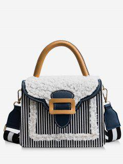 Fluffy Color Block Tote Bag - Black