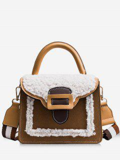 Fluffy Color Block Tote Bag - Brown