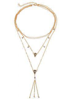 Rhinestone Multi Layers Fringe Necklace - Gold