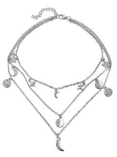 Vintage Multi Layers Moon Alloy Necklace - Silver