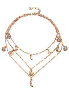 Vintage Multi Layers Moon Alloy Necklace - Gold