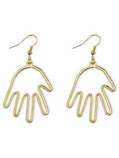 Palm Shape Metal Hook Earrings - Gold