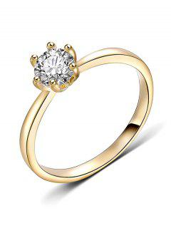 Artificial Diamond Inlaid Decorative Metal Finger Ring - Gold S