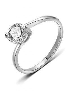 Round Rhinestone Decorative Metal Finger Ring - Silver M