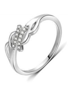 Artificial Crystal Decorative Metal Finger Ring - Silver S