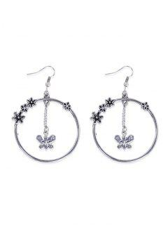 Butterfly Floral Round Hook Earrings - Silver
