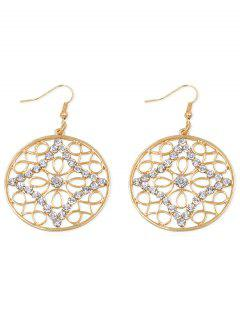 Rhinestone Inlaid Hollow Out Hook Earrings - Gold