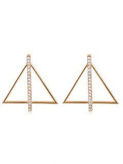 Rhinestone Inlaid Triangle Alloy Earrings - Gold