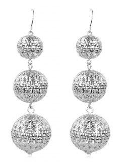 Alloy Balls Fish Hook Earrings - Silver