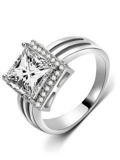 Rhinestone Geometric Shape Finger Ring - Silver L