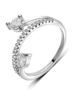 Artificial Diamond Decorative Metal Finger Ring - Silver L
