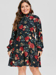 ZAFUL Plus Size Ruffle Neck Floral Print Dress - Dark Slate Blue L