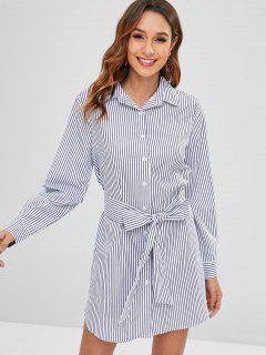 Long Sleeve Striped Kleid Mit Gürtel - Multi Xl