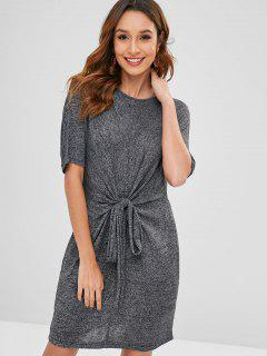 Heathered Knotted Mini Dress - Dark Slate Grey S