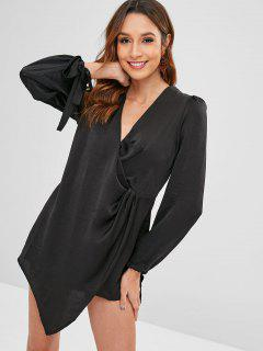 Plunging Twisted Asymmetrical Romper - Black M