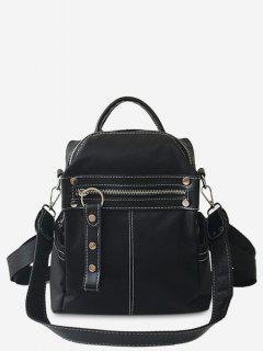 Rivet Zip Pocket School Backpack - Black