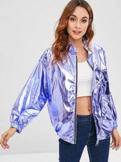 Oversized Metallic Jacket - Lavender Blue
