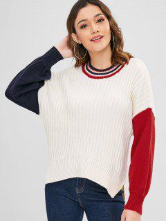 Contrast High Low Slit Sweater - Warm White