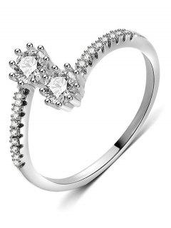 Artificial Crystal Decorative Finger Ring - Silver M