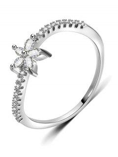 Artificial Diamond Floral Design Finger Ring - Silver M