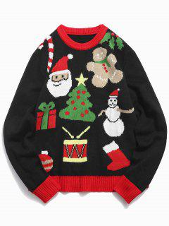 Christmas Theme Printed Pullover Sweater - Black M
