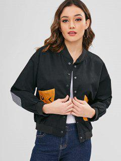 Embroidered Contrast Pocket Twill Bomber Jacket - Black S