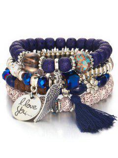 Bohemian Wing Beaded Bracelet Suit - Navy Blue