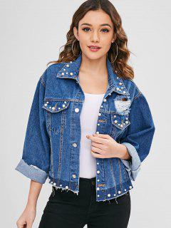 Distressed Beaded Denim Jacket - Blue S