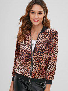 Cazadora De Aviador Con Estampado De Leopardo De Terciopelo - Leopardo L