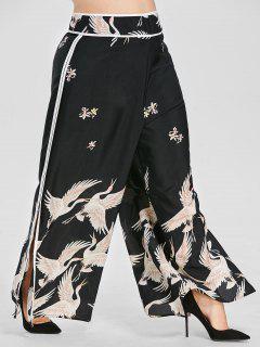Crane Print Wide Leg Plus Size Pants - Black 2x