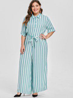 Striped Plus Size Wide Leg Jumpsuit - Medium Turquoise 1x