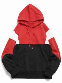 Color Block Pouch Pocket Hoodie - Red L