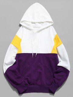 Color Block Pouch Pocket Hoodie - White Xl