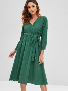 Long Sleeve Surplice Midi Dress - Sea Turtle Green