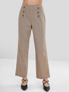 Checked Buttoned Wide Leg Pants - Multi M