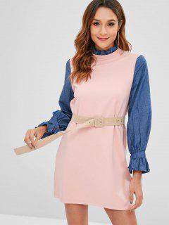 Contrast Sleeve Frilled Belted Etuikleid - Rosa