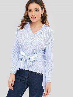 Krawatte Taille Gestreiften High Low Shirt - Multi M