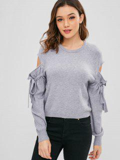 Hollow Out Tied Sleeve Sweater - Gray