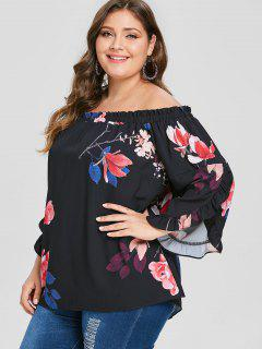 Plus Size Floral Off The Shoulder Tunic Blouse - Black 4x